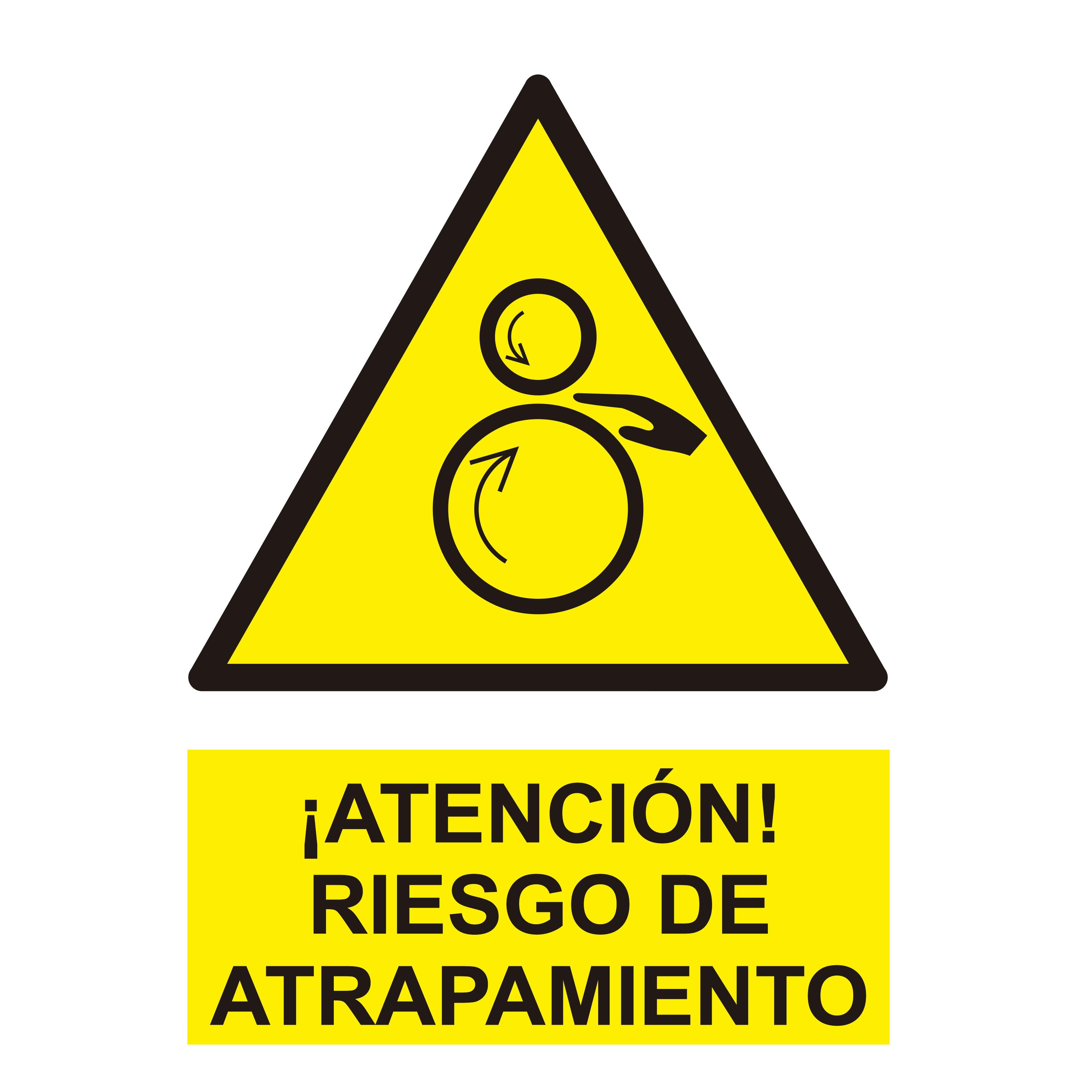 Señal ¡ATENCIÓN! RIEGO DE ATRAPAMIENTO