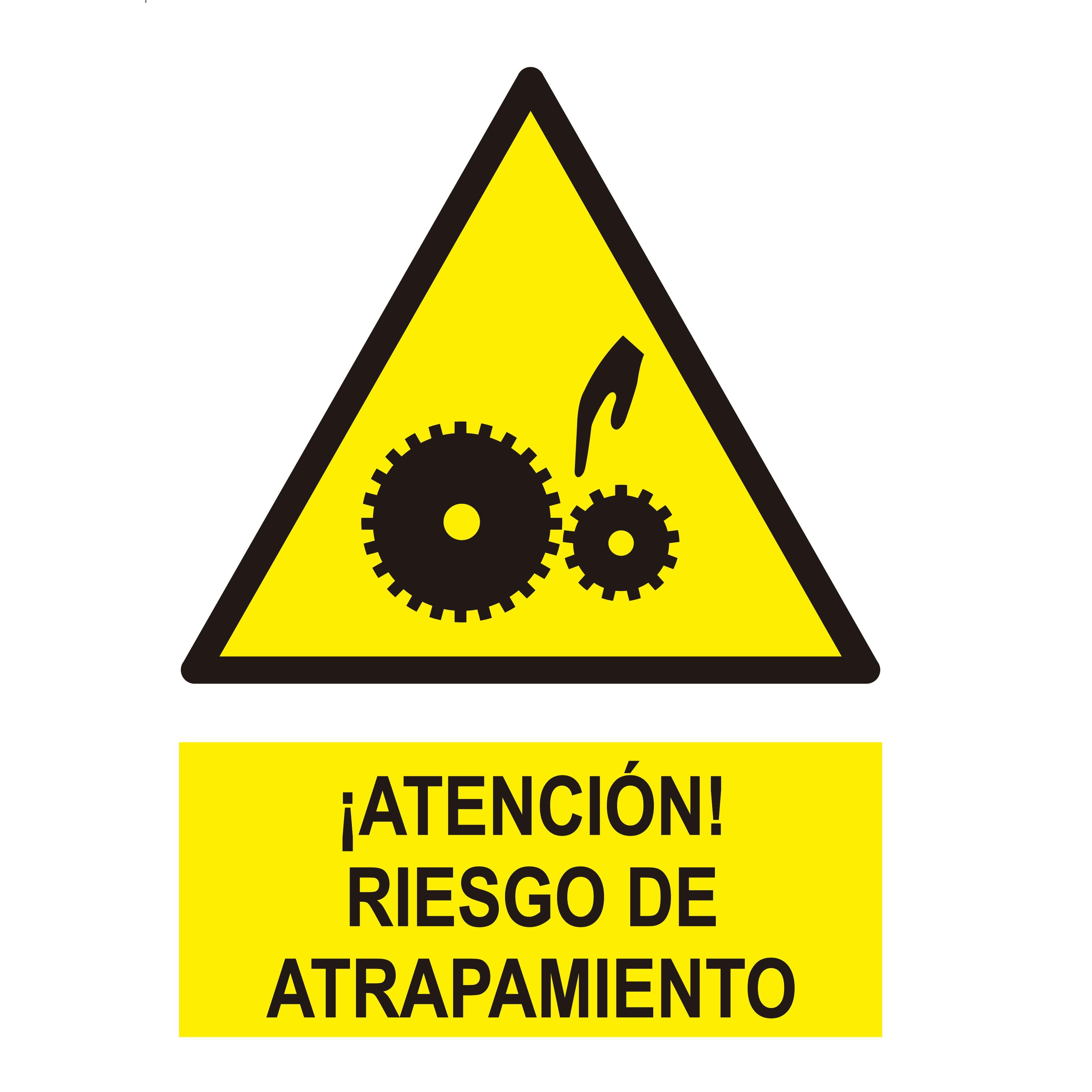 Señal ¡ATENCIÓN! RIEGO DE ATRAPAMIENTO PIÑONES