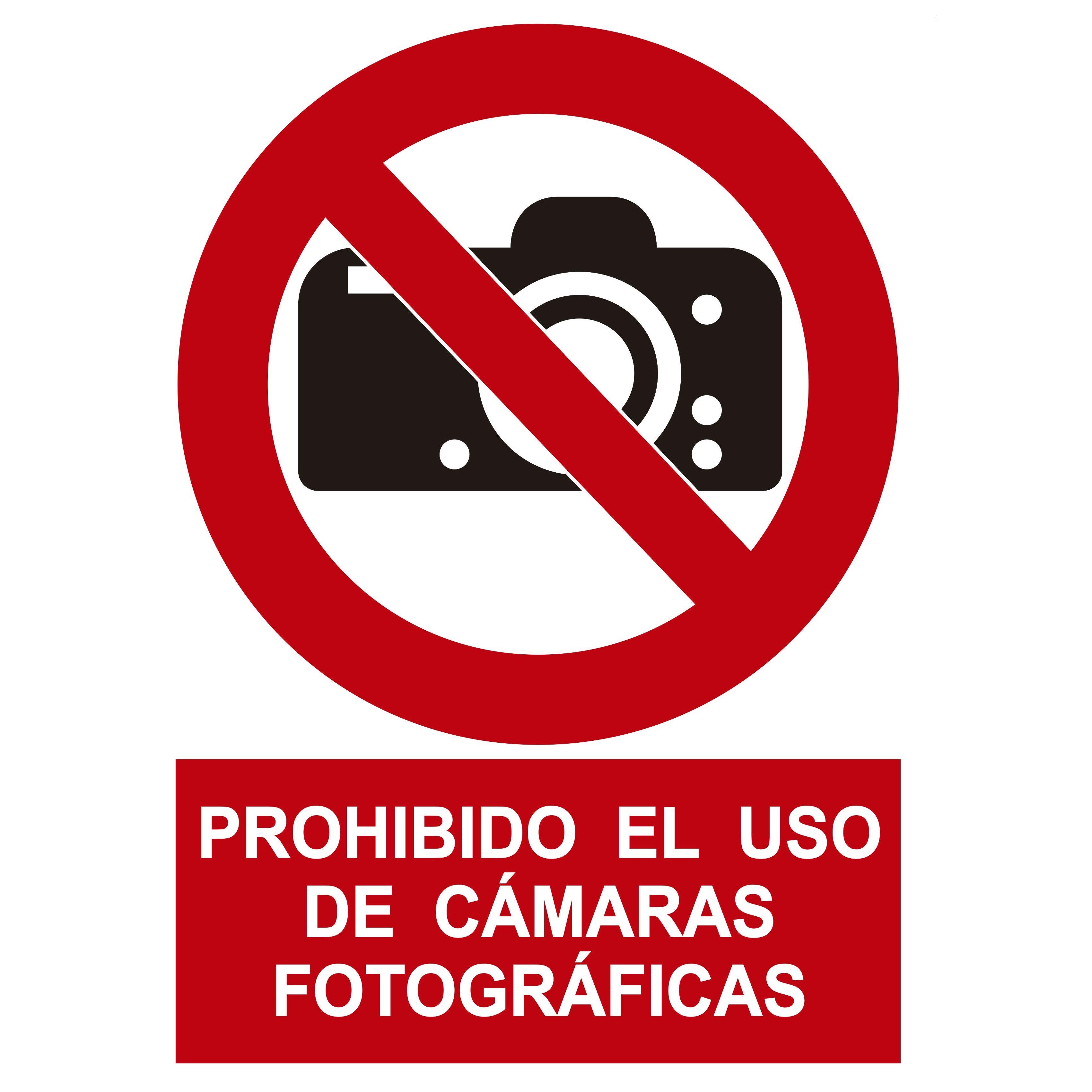 Señal PROHIBIDO EL USO DE CÁMARAS FOTOGRÁFICAS