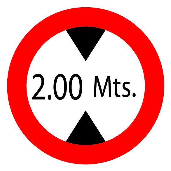 Señal ALTURA MÁXIMA 2m
