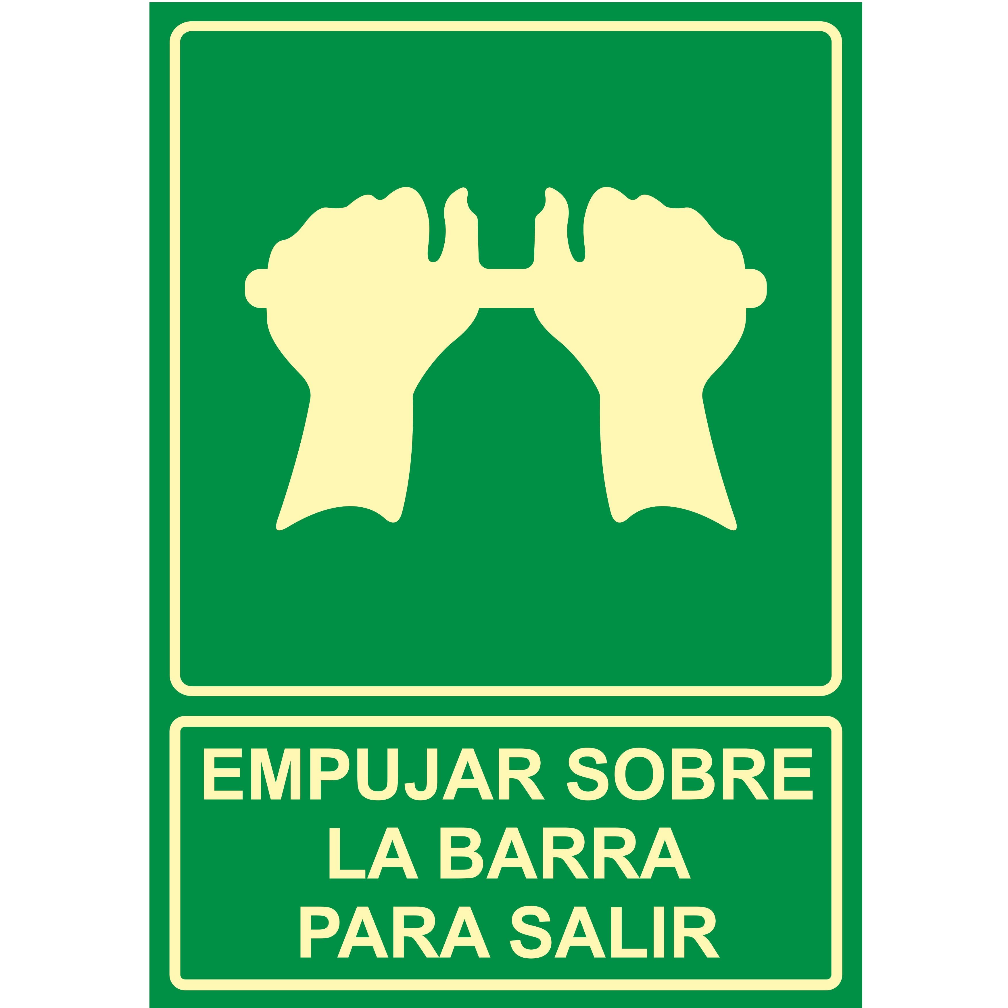 Señal EMPUJAR SOBRE LA BARRA PARA SALIR