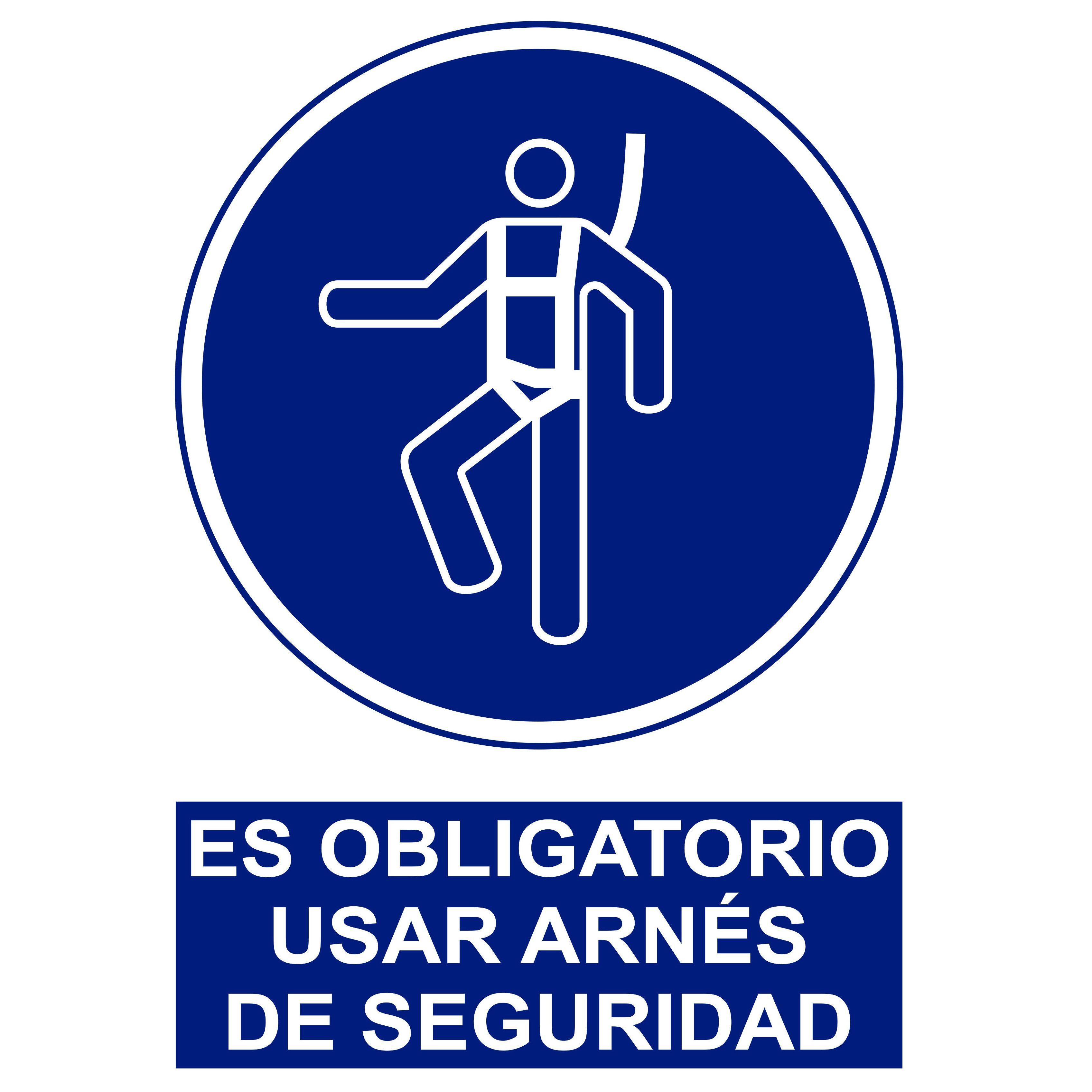 Señal ES OBLIGATORIO USAR ARNÉS DE SEGURIDAD